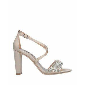 BADGLEY MISCHKA Sandals Ivory Satin Ankle Strap